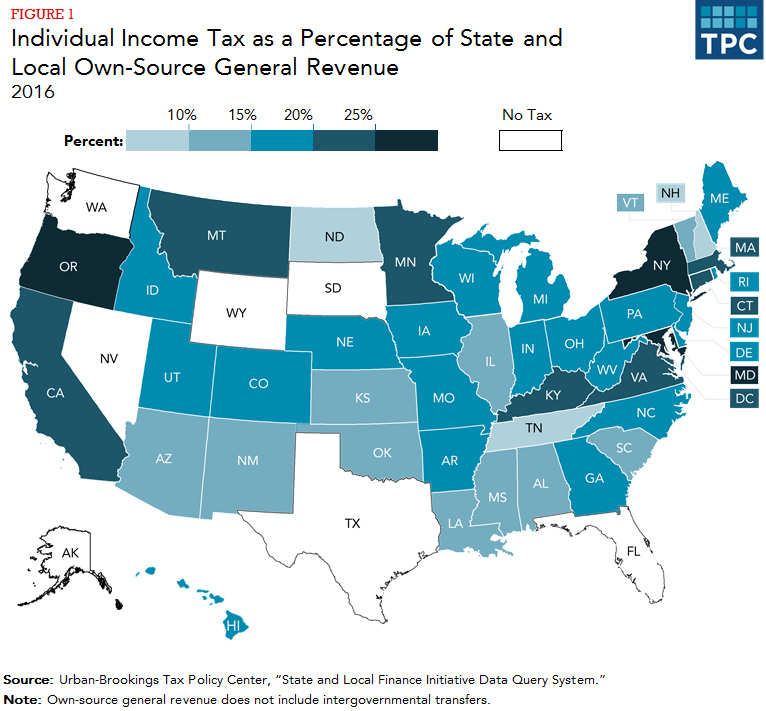 No State Income Tax States Map.How Do State And Local Individual Income Taxes Work Tax Policy Center