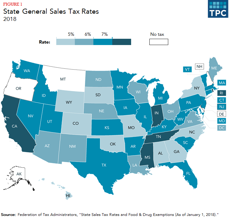No State Income Tax States Map.How Do State And Local Sales Taxes Work Tax Policy Center