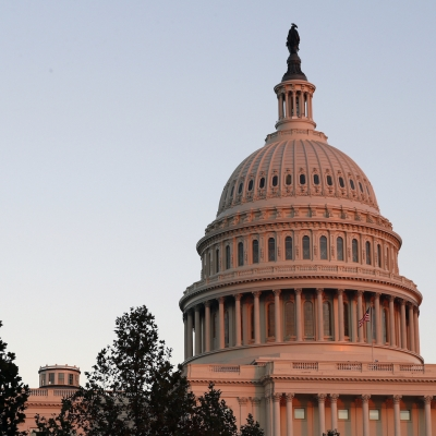 The U.S. Capitol dome is seen at sunset on Capitol Hil