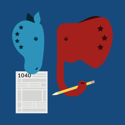 Illustration of Democrat Donkey and Republican Elephant with 1040 tax form